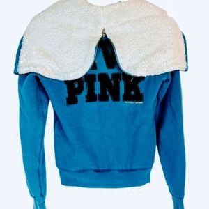 💕Victoria Secret PINK blue fleece Jacket